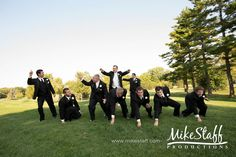 cute idea for the groomsmen with the groom as the quarterback