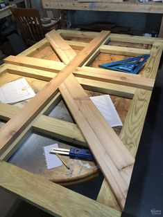DIY Farmhouse Table / Trestle Table - The Navage Patch | 1000 Diy Table Top, Diy Dining Table, Trestle Table, Outdoor Dining, Farmhouse Table With Bench, Farmhouse Kitchen Tables, Wooden Living Room Furniture, Pallet Furniture, Outdoor Deck Decorating