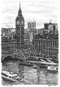 Stephen Wiltshire is an artist who draws and paints detailed cityscapes. He has a particular talent for drawing lifelike, accurate representations of cities, sometimes after having only observed them briefly. Amazing Drawings, Amazing Art, Stephen Wiltshire, Autistic Artist, Architecture Concept Drawings, City Drawing, Drawing Exercises, River Thames, Environmental Art
