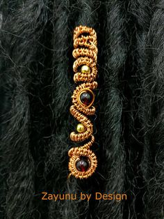 An Majestically ornate, beautifully crafted dreadlock hair cuff. Decorated with red and gold accent beads and intricately wire woven with enamelled copper wire. Available as a single cuff and as a set of Dread Jewelry, Dreadlock Jewelry, Dread Beads, Hair Beads, Wire Jewelry, Dreadlock Hair, Sisterlocks, Jewellery, Hair Cuffs