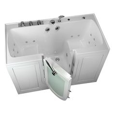 Tub4Two 2 Seat Acrylic Walk In Whirlpool Bathtub In White With Center