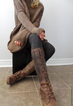 Купить Оверсайз Мокко - коричневый, однотонный, платье-свитер, туника, необычный свитер, вяжу на заказ