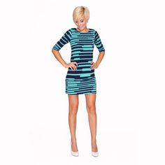 Get Twiggy with it. The '60s style Sophie Dress by vfish features bright blue and teal geometric stripes, closely fitted ¾ length sleeves and a body skimming fit. $35