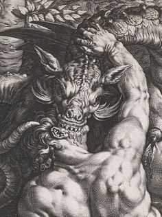The Dragon Devouring the Companions of Cadmus (detail) by Hendrick Goltzius, 1588.