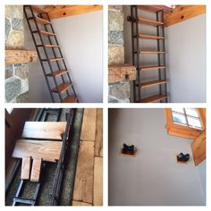 Loft ladder converts to a bookshelf.  Do it yourself from rustic reclaimed wood, hot rolled steel and expressed hardware.  This multi use solution slides into action in a moment's notice when surprise house guests come to town.  Be the best bed & breakfast in town by maximizing and expanding into the attic above.  The loft is outfitted with low side tables, a low bed and a small shed dormer with modestly sized windows to welcome the morning sun.
