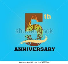 anniversary logo with javanese shadow puppet pattern 5th
