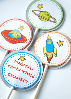 Outer Space Cupcake Toppers. $9.00, via Etsy.