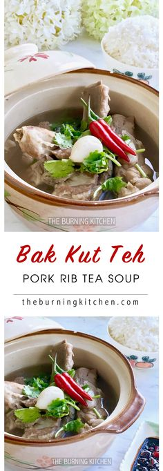 Bak Kut Teh (Pork Rib Tea Soup) - This clear peppery soup with fall-off-the-bone-tender pork ribs goes best with a bowl of steaming white jasmine rice, fried dough fritters (you tiao) and chilli soy sauce dipping sauce. So yummy! via @burning kitchen