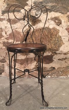 Vintage Ice Cream Parlor Stool Twisted Steel Legs Primitive Wooden Seat Wow! Furniture