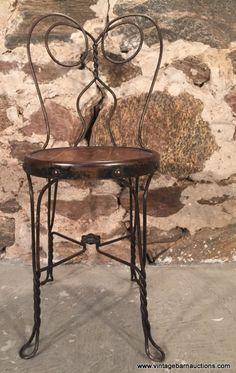 Lot # : 605 - Antique Iron Twist Ice Cream Parlor Chair
