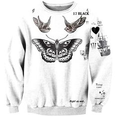 Womens Crew Neck Butterfly Printed Pretty Pullover Sweatshirt White (€16) ❤ liked on Polyvore featuring tops, hoodies, sweatshirts, white, white sweatshirt, white pullover, crew neck pullover, sweat shirts and pullover sweatshirts