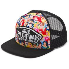 Vans Disney Trucker ($26) ❤ liked on Polyvore featuring accessories, hats, snapbacks, hair, multi princess, vans snapback, trucker hat, logo snapback hats, vans hat and adjustable hats