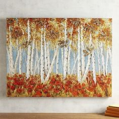 Slender white birches stand in vivid contrast to clusters of brilliant red blooms. Rich in detail and bold saturated color, our unique, hand-painted work of art makes a strong statement. Is it speaking to you?