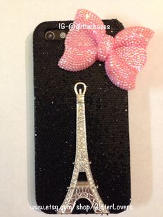 Black iPhone 5 sparkle case with Eiffel Tower and by GlitterLovers, $25.00
