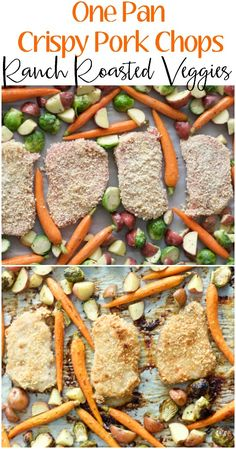 Try these easy One Pan Crispy Pork Chops and Ranch Roasted Veggies for an easy Fall meal ready in just 30 minutes!  #SmithfieldCares #ad #dinner