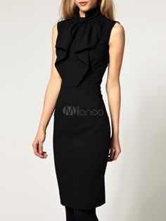 [$29.99] Black Embellished Collar Pleated Brocade Solid Color Shaping Fashion Shirt Dress