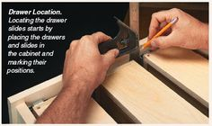 Easy installation of drawer glides without a plastic glide jig. Woodworking For Kids, Woodworking Basics, Woodworking Shop, Woodworking Projects, Wood Shop Projects, Home Projects, Installing Drawer Slides, Handyman Projects, Closet Drawers
