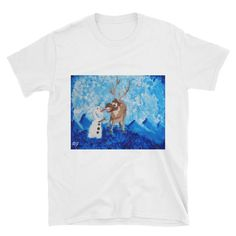 Olaf And Sven Short-Sleeve Unisex T-Shirt This makes for a great staple t-shirt. It's made of a thicker, heavier cotton, but it's still soft. And the double sti Nerdy Shirts, Frozen Movie, Olaf, Short Sleeves, Unisex, Awesome, Cotton, Mens Tops, Movies