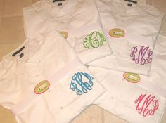 our oversized men's shirts - monogrammed just for you!  what a lovely gift!   www.misslucysmonograms.com