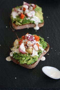 avocado toast with spring veg and tahini