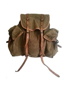 old french ARMY BACKPACK  canvas and leather by lesclodettes, $120.00