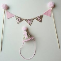 New CAKE Bunting flag banner and mini party hat by Kutiebowtuties