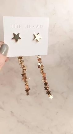 Chic earrings ⭐ Wear the star stud on its own or add the cascading cluster of stars for a stunning drop effect. Shop the VEGAS STARDUST EARRINGS at Ear Jewelry, Cute Jewelry, Jewelery, Jewelry Accessories, Fashion Accessories, Jewelry Design, Fashion Jewelry, Geode Jewelry, Fashion Earrings