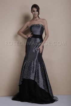Black and gray sheath gown