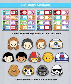 Ultimate Star Wars Party Set Combo Digital File INSTANT DOWNLOAD ----------------------- ★★ Package Included ★★----------------------------------- You will received 6 PDF files of the following: * 26 Cupcake Toppers & 3 Cupcake Wrapper in 1 PDF File, neatly layout in 8.5 x 11 sheet * 26