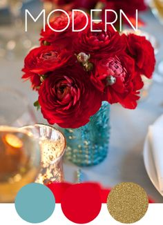 Modern and Elegant wedding color scheme ... here is a color scheme that incorporate the tiffany blue color and the red roses ....