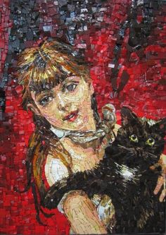 Mosaic portrait... of a girl and her cat ... really well done - no ref to an artist though?? ♥•♥•♥