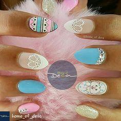 By #HOMEOFDEVA on IG #easternails #EasterNailArt #prettynailart #acrylicnails #acrylicnailart #nails