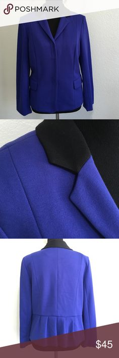 Bigio Collection Cobalt Blazer Two front snap button closure with two front pockets. Back ruffle detail and black neckline. 38% Rayon, 35% Polyester, 23% Nylon, 4% Spandex.  Feels like jersey. Dry clean only. Bigio Jackets & Coats Blazers