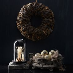 Crafted of real mushrooms, this unique #Halloween wreath from #MarthaStewartLiving will make a fantastically spooky statement in your home.