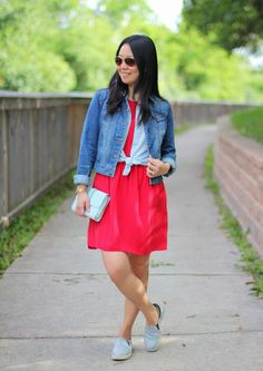Madewell dress | Gap chambray sleeveless top | JCP denim jacket | Circus by Sam Edelman slip-ons | Gap clutch