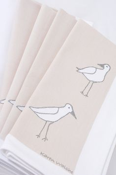 Coastal Napkin Wading Birds Screen Printed Table by karenwalshe