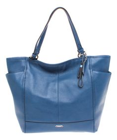 Another great find on #zulily! Denim Blue Park Leather Tote by Coach #zulilyfinds