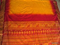 Vintage Indian Silk Sari Wrap Printed Saree in Yellow and Red. $18.99, via Etsy.