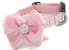 Shabby Chic Pink and Green Dog Collar size Large on Etsy, $18.00