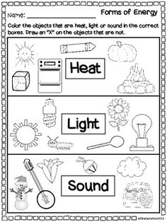 FORMS OF ENERGY - HEAT, LIGHT, SOUND {REAL PICTURES TO SORT, RECORDING SHEETS} - TeachersPayTeachers.com $