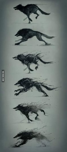 Don't know the artist, but this shadowy wolf transformation sequence is awesome!