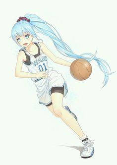 Hatsune Miku Basketball Basketball Anime Anime Anime Blue Hair