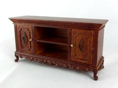 Dolls House Fine Miniature 1 12 Furniture New Hope Walnut TV Stand Cabinet
