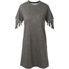 Sacai Mottled Grey Mixed Linen T-Shirt Dress (380 AUD) ❤ liked on Polyvore featuring dresses, gray dress, gray t shirt dress, short sleeve t-shirt dress, tee shirt dress and sleeve dress