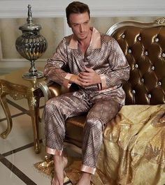 e23024b5ff Pajamas Satin Men Printed Long-Sleeve Pajama Pants Sets. Male Nightwear  Real Pyjama ...