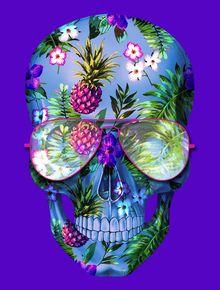 Arte: SKULL TROPICAL FLOWERS Artista: Russ