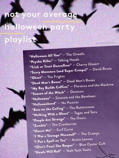 Here's a playlist to blast at your next Halloween party—with a few of our favorite old ghoul chants hidden between the candy corn and caramel apples of our favorite rock and pop songs. Halloween Playlist, Halloween Songs, Party Playlist, Halloween Birthday, Halloween 2019, Spooky Halloween, Holidays Halloween, Halloween Crafts, Happy Halloween