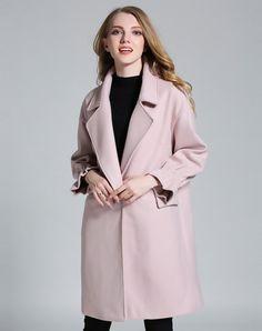 Pink Drop Shoulder Cowl Neck H Line Long Coat