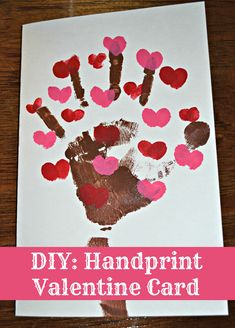 A quick and easy last minute Valentine Card idea. DIY: Handprint Valentine's Day Card | This Girl's Life Blog