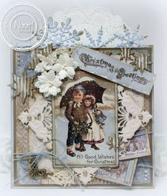 Vintage Christmas Greeting using a variety of Joy and Noor Dies